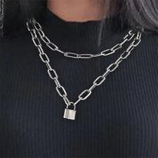 2020 Womens Mens Padlock Lock Pendant Punk Choker Chain Necklace Jewelry Silver