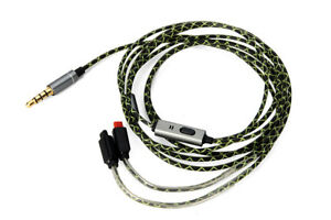 MMCX Green pattern Audio Cable With remote microphone For Android/IOS -Universal
