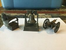 Lot Of 3 Diecast Metal Pencil Sharpener Cannon Liberty Bell Phonograph Player
