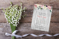 Personalised Save The Date Cards X 10 Wedding Calendar Sd418