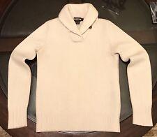 Ralph Lauren Rugby Womens Shawl Collar 100% Wool Sweater CREAM Sz Small Slim Fit