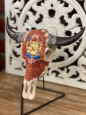 CLEARANCE. Boho Style Carved Cow Skull - Painted
