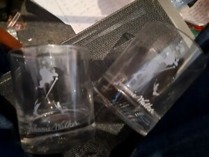 2 x Johnnie walker etched scotch whisky glasses