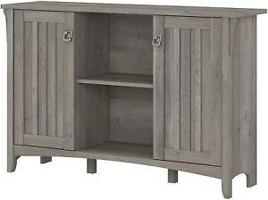 Rustic Gray Grey Wooden Buffet Console Storage Cabinet China Server 2 Door Curio