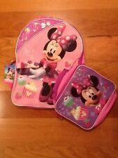 "Minnie Mouse 16"" Backpack w Lunch Bag - Brand New"