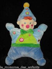 Doudou Grelot Hochet semi-plat Clown Lutin Bleu Nicotoy 29 cm