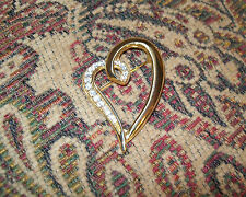 Heart Vintage Pin Brooch Crystals Sculptured Free ship USA Bling