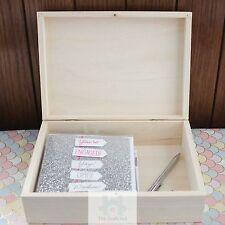 A5 LEGNO documento casella caso coperchio a battente legno non trattato fermo Storage pz233