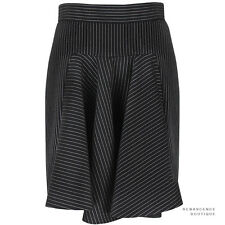 Stella McCartney Elegant Black Pinstriped Godet Pleat Mini Skirt IT40 UK8