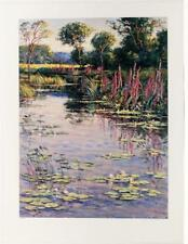Signed Numbered Wayne Morrell Nature Scenic Garden Pond Expressionism Litho #41T