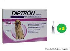 Caja 3 Pipetas para perros de 20-40 Kg anti pulgas y garrapatas DIPTRON 2,68 ml