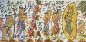 """Antique 141"""" (358 cm) Long Kamasan Balinese Folk Painting of Semapura KlungKung"""
