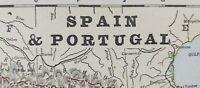 """Vintage 1900 SPAIN PORTUGAL Map 14""""x11"""" ~ Old Antique Original LISBON MADRID"""