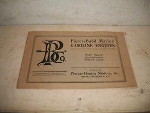 1924 Pierce Budd Marine Hit & Miss GASOLINE ENGINES BROCHURE CATALOG Michigan