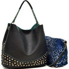 Women 2 in 1 Handbag Sets Faux Leather Satchel Shoulder Bag Hobo Purse