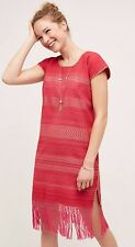 NEW $320 Anthropologie Santa Lupita Coral Garden Midi Fringe Dress Size Medium