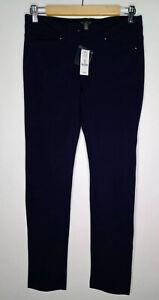 White Black House Market Women's Size 2R Slim Leg Ponte Navy Blue Pants 2673