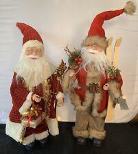 Plush Father Christmas Standing Figure Decoration Gisela Graham Santa Vintage