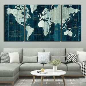 3 Panels Blue Old World Map Poster Painting For Living Room Modern Poster And