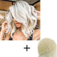 Women Fashion Gradient White Gold Clolor Curly Wig Shoulder Length Wavy Hair Wig