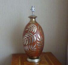 LAMP BASE SILVERY GOLD FERN PORCELAIN  WOOD PLINTH CONTEMPORARY