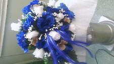 21 Pc wedding Package Royal Blue and Burlap Sale! Bouquets, bout and corsages