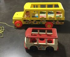 Vintage Fisher Price Toys Lot School Bus 192 (1963) and Mini Bus 141 (1969) USA
