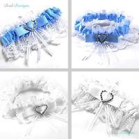 Wedding Hen Party Bride To Be Satin Ribbon Lace Bridal Garter - White / Blue