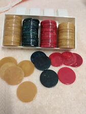 100 Vintage 1930 Bakelite (Catalin) Poker Chips butterscotch, red, blue
