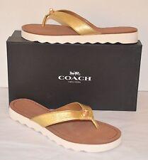 d931b40cb Coach Shelly Metallic Tumbled Gold  white Sandal Flip Flop 8