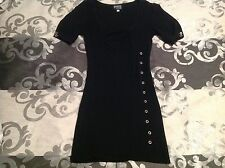 Pure Hype knit bodycon pencil sweater jumper dress size 8 black knitted ribbed