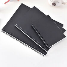 Plain Black Hard Cover Blank White Sketchbook Spiral Journal Diary Book 1 PC