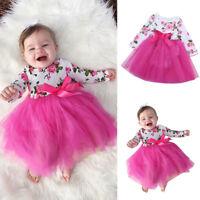 Newborn Toddler Kids Baby Girl Floral Princess Tutu Romper Dress Party Gown