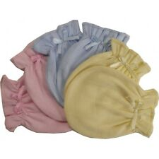 10 Pastel Cotton Jersey Infant Baby Mittens Blue, Pink, Yellow, Aqua One Size