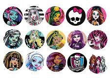 """30 Precut 1"""" Monster High bottle cap Images for hair bow  craft and many more"""