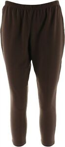 Women with Control Petite Fit Pull-On Knit Leggings Chocolate PXXS NEW A235952