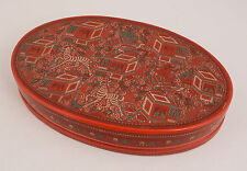 Asian Lacquer Wooden Box w/Zebras Repeating Pattern Chinese Men Houses Red Green