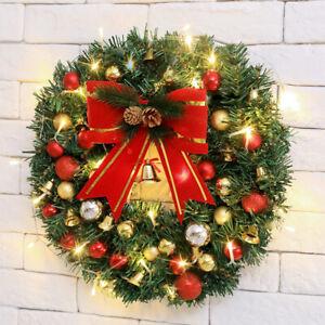 LED Pre-Lit Christmas Wreath Large Balls Front Door Wreath Garland Decorations