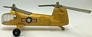 1950s Hubley Kiddie Toy Diecast Metal Yellow US Military Chinook Toy Helicopter