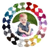 20PCS Baby Girls Hair Bows Boutique Alligator Clip Grosgrain Ribbon Hairpin
