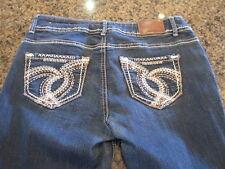Maurices women's blue denim jeans 5/6 Dark thick stitching bling straight sequin
