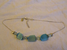 "Next Silver Tone & Blue Glass & Plastic Bead Chain Necklace - 16-18"" long"