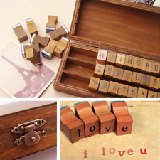 30pcs Retro Alphabet Letter Uppercase Lowercase Wooden Rubber Stamps Set New