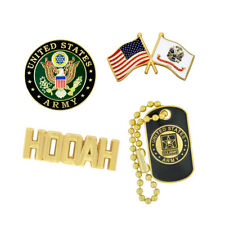 PinMart's USA Army Military Patriotic Dog Tag HOOAH Enamel Lapel Pin Set