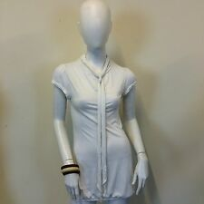 Warehouse Ladies Beige Pussybow Short Sleeve Puffball Long Tunic Top UK Size 6
