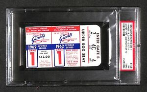 "1962 World Series GAME 1 ticket WHITEY FORD ""10TH WS WIN MLB RECORD"" PSA 7"