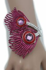 Unique Women Bracelet Fashion Silver Metal Cuff Purple Peacock Feathers Jewelry
