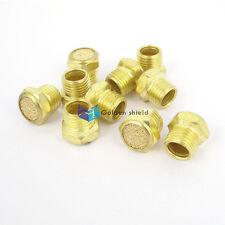 10 Pcs Flat Pneumatic Noise Muffler Filter Sintered Gold Tone 1/4PT Male Thread