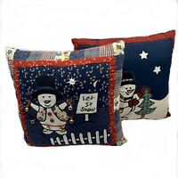 """2 Vintage Handmade Snowman Throw Pillows Patchwork Bells Cushion Pillow 14"""""""
