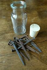 13 1800's Iron Coffin/Woodworking Nails & VINTAGE Glass Bottle HEXING Magic